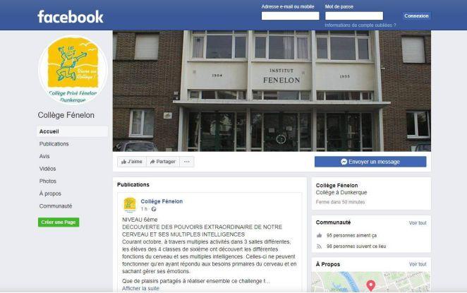 Le collège Fénelon est sur Facebook !